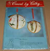 Cathy stocking W/ Toys Christmas Ornament Floral Crewel Embroidery Kit Nip