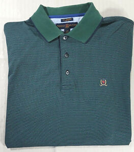 629c19381 Vintage Tommy Hilfiger Golf Striped Polo Shirt w Crest Mens L Dark ...