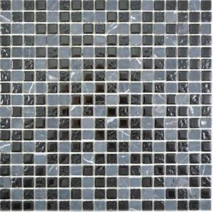 Détails sur Glasmosaik Pierre Gris Noir Mur Sol Cuisine Douche Bain Sauna    58-0203 10 Tapis- afficher le titre d\'origine