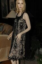 LIM'S VINTAGE C0TT0N HAND CROCHET DRESS Black One Size