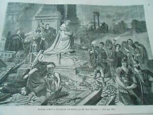 Gravure 1861 - Néron Après L'incendie De Rome