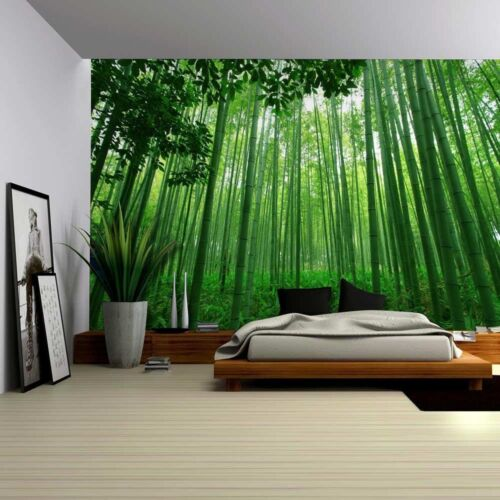 100x144 inches Wall Mural Close Up View into a Pure Green Bamboo Forest