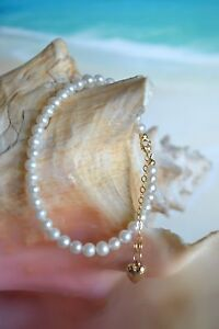 14K-Yellow-Gold-amp-White-Freshwater-Pearl-6-5-to-8-Inch-Bracelet-with-Heart-Charm