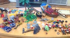 Playmobile Vintage Retired Pirate Ship With Parts And Figures #N605