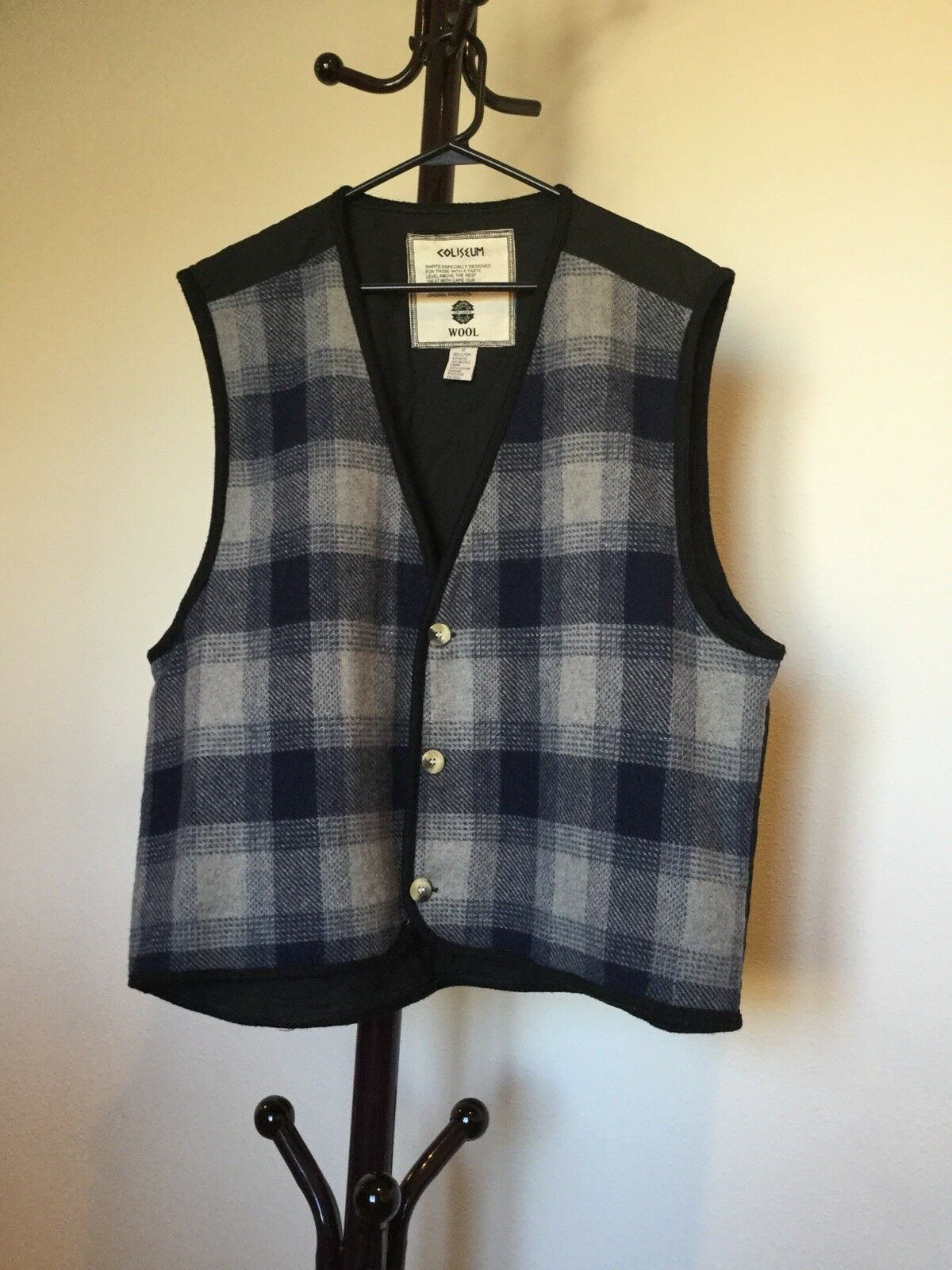 Women's COLISSUM WOOL Button Up Navy bluee Plaid Wool Blend Vest Size XL
