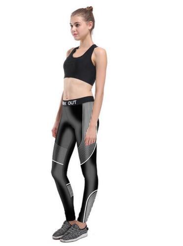 Mode d/'entraînement Blanc Rayures Imprimé Élastique Sports Leggings Gris S-4XL 33001
