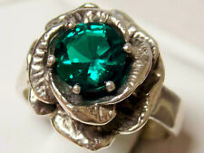 1ct green emerald antique 925 sterling silver ring size 9 USA