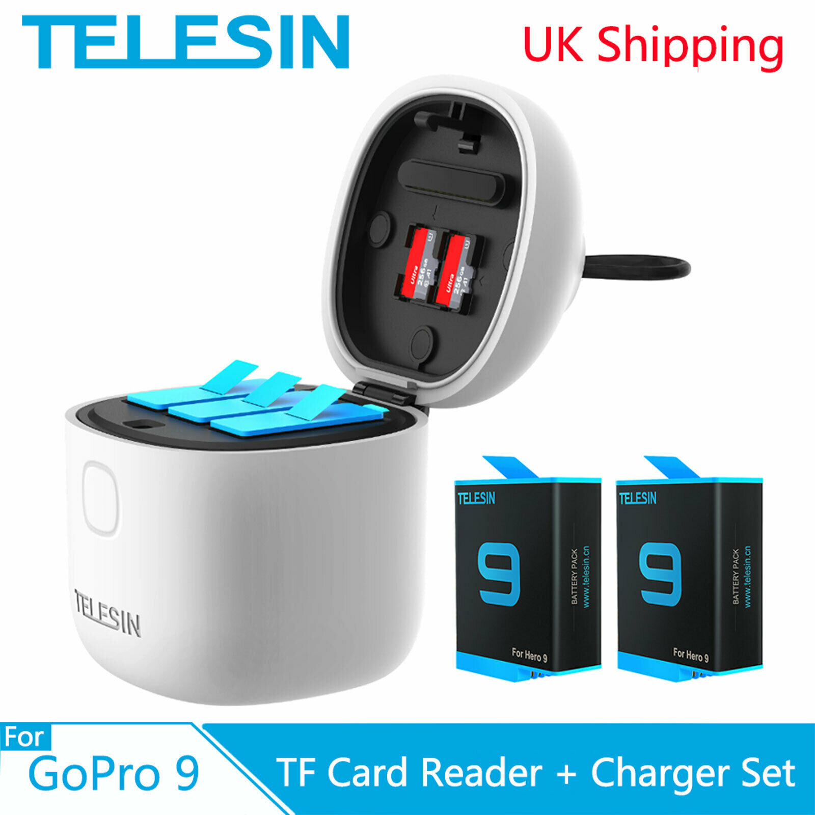 TELESIN 2 Pack Allin Box Battery Charger For GoPro Hero 10 9 Charging Storage