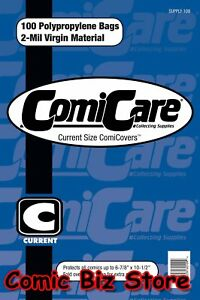 100-x-CURRENT-SIZE-PP-COMIC-BAGS-amp-100-x-CURRENT-SIZE-COMIC-COMICARE-BOARDS