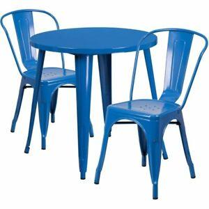 Surprising Flash Furniture Ch 51090Th 2 18Cafe Bl Gg 30 Inch Round Blue Metal Set Theyellowbook Wood Chair Design Ideas Theyellowbookinfo