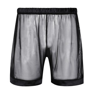 See Sheer Through Mesh intimo Bottom Boxer Bikini Sexy Pantaloncini Thong Men Nero Brief xnqE85t