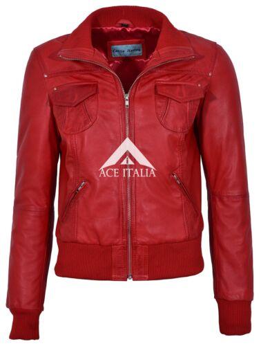Fusion Femmes Rouge Délavé Court Bomber Biker Motorcycle Style Veste en cuir 3758