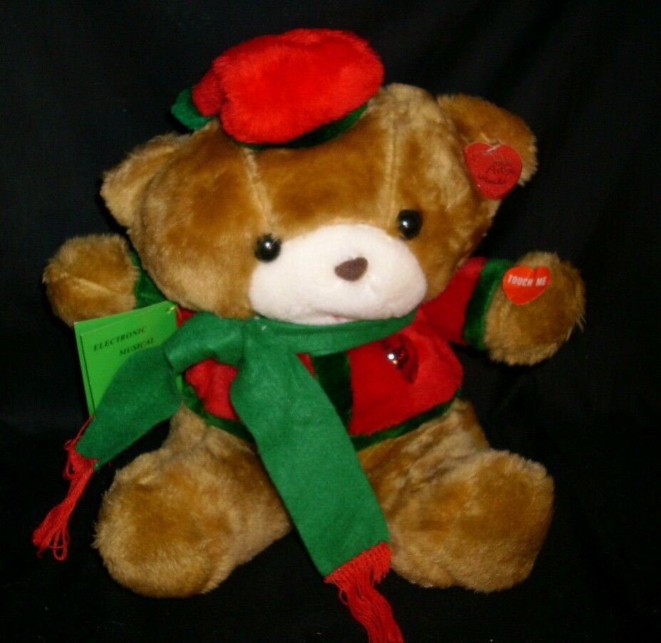 VINTAGE NOBLE ARTS CHRISTMAS STUFFED ANIMAL PLUSH TEDDY BEAR MUSICAL LIGHTS UP