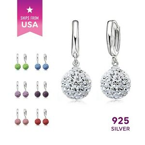 925-Sterling-Silver-Color-Crystal-Rhinestone-Earrings-Drop-Dangle-Ball-Ear-Ring