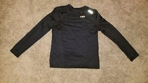 e6504bf42f56 Fila Sport Kids Long Sleeve Shirt Black Medium 10 12 Polyester NWT ...