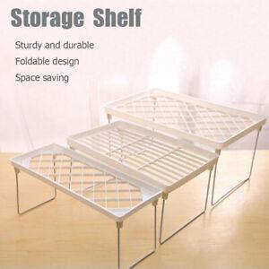 Storage-Rack-Shelf-Foldable-Holder-Organizer-Stackable-Kitchen-Cupboard