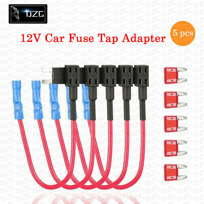 5 Pack 12V 20A Car Add-A-Circuit Fuse Tap Adapter Mini ATM APM Blade Fuse Holder