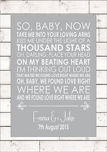 Details about THINKING OUT LOUD - ED SHEERAN Lyrics Word Anniversary Song  Personalised Canvas