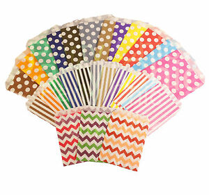 PAPER-BAGS-POLKA-DOT-CHEVRON-STRIPE-SWEET-PARTY-SMALL-MEDIUM-CAKE-FAVORS-COUNTER