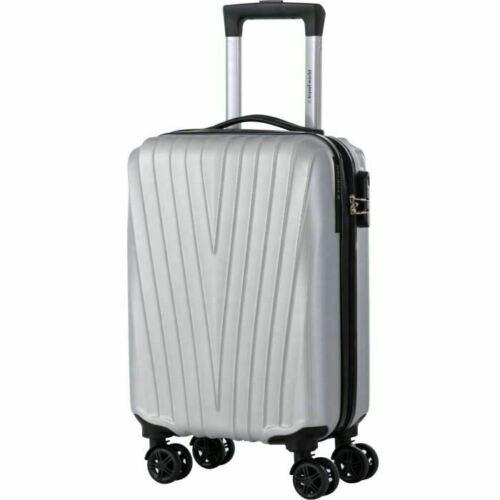Valise Cabine De Voyage Bagage Rigide Argent Bagagerie Sac de Vacances Transport