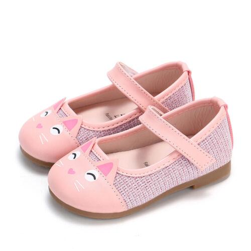 Infant Baby Girl Child Cartoon Cat en cuir unique Chaussures Plat Princesse Chaussures Fille