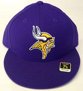 Image is loading NFL-Minnesota-Vikings-Reebok-Fitted-Flat-Brim-Cap- 72a72847a50a