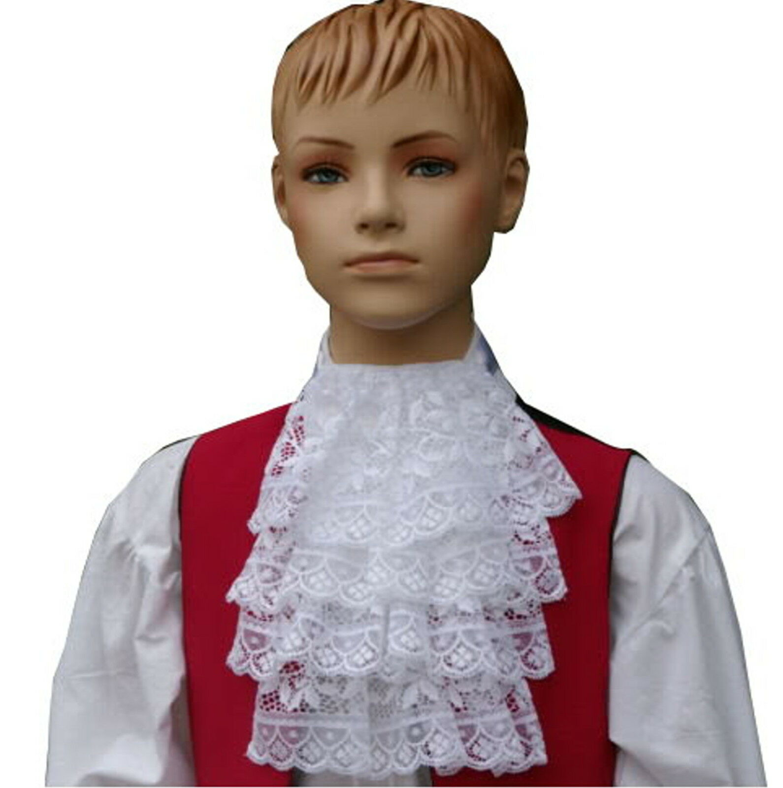 Boys Victorian / Georgian lace jabot cravat sizes 2-6 yrs 6-10 yrs or 10-14 yrs