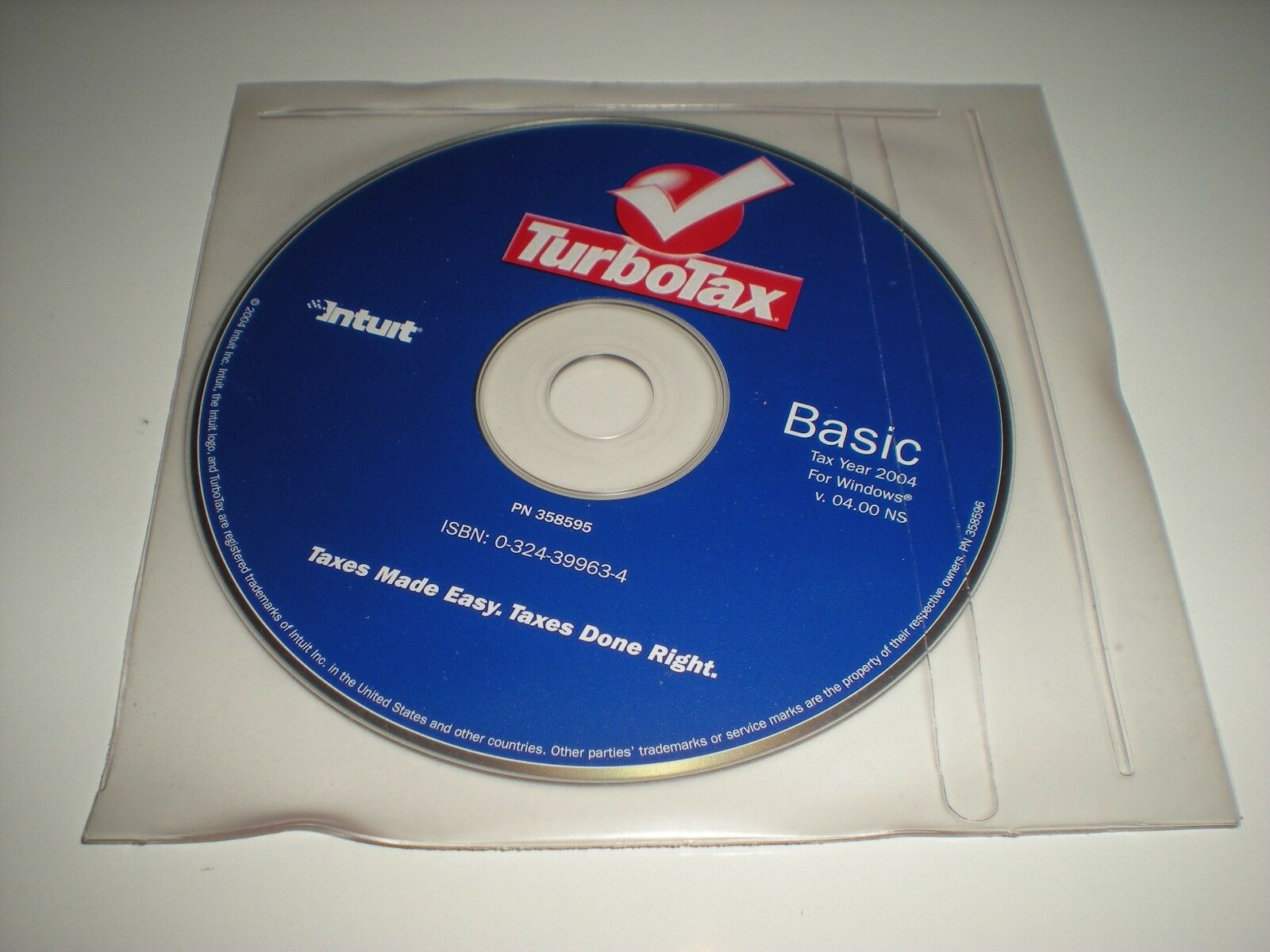 In sealed promotional sleeve New Turbotax 2004 Basic Turbo Tax For Windows.