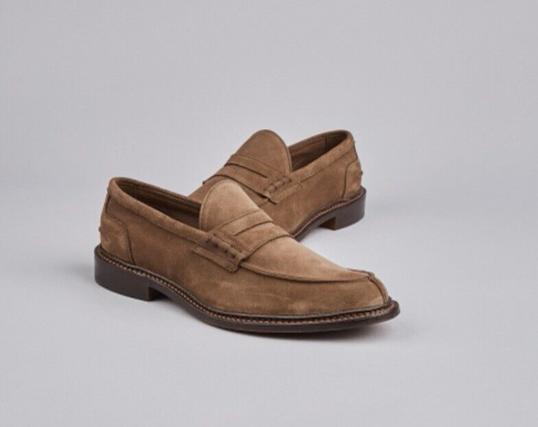 Trickers Suede Blair Loafers Shoes Size 7.5 EU 41.5 Chestnut Brown BNWT RRP
