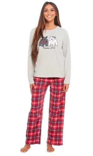 Damen Weiches Mikro Fleece Kuschlig Nachtwäsche Pyjama in Zwei Styles Vier Größe