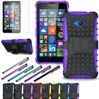 Armor Protective Hybrid Rugged Hard Case Cover Stand For Microsoft Lumia 640+LCD
