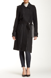 Vince-Camuto-Women-039-s-Large-Long-Textured-Wool-Blend-Trench-Coat-Black-Belted