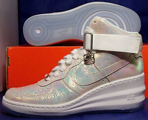 NIKE LUNAR FORCE 1 SKY HIGH PREMIUM QS IRIDESCENT WEDGE SZ 6.5 [704518-100]