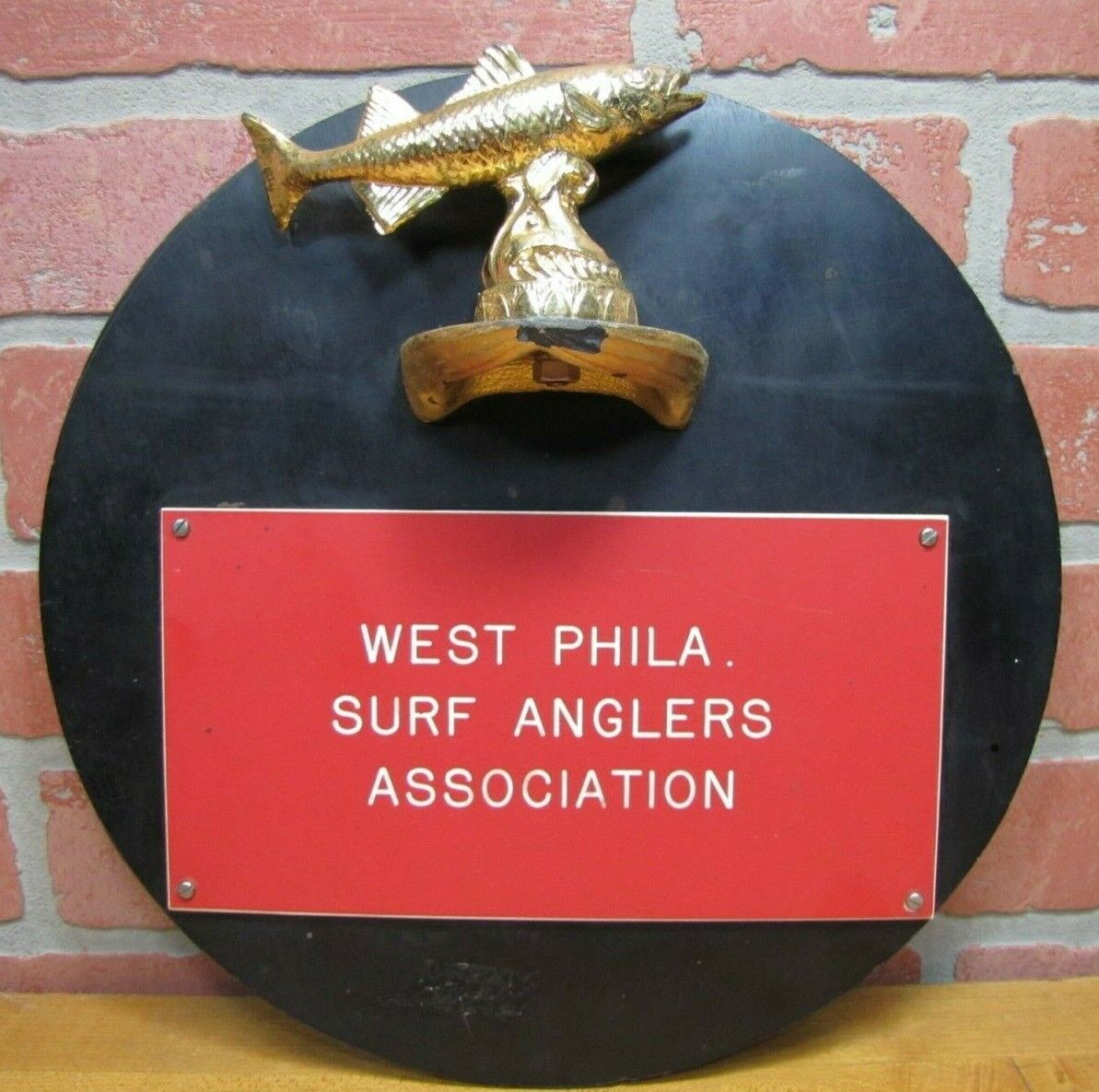 Vintage  WEST PHILA SURF ANGLERS ASSOCIATION Sign Philadelphia Fishing Ad Plaque  official quality