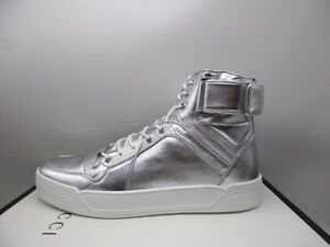 392fc3b9f7f2 Image is loading Gucci-Mens-Argento-Silver-Leather-High-Top-Sneakers-