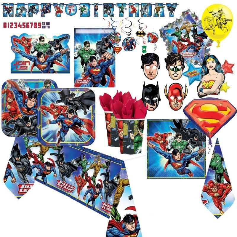 Justice League DC Comics Party Tableware, Decorations and Balloons