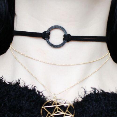Circle choker collar Necklace Witch gótica GOTH círculo Karma bondage Glitter