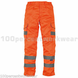 Yoko-HV018T-ORANGE-High-Visibility-Hi-Vis-Viz-Cargo-Combat-Work-Trousers-GO-RT