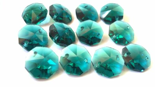 50 Caribbean Teal Green 14mm Octagon Chandelier Crystals Beads