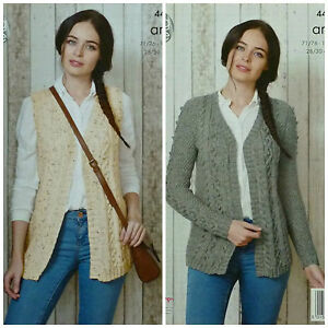 4a292c038483 KNITTING PATTERN Ladies V-Neck Cable   Bobble Waistcoat   Cardigan ...