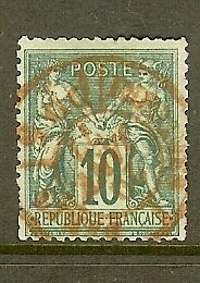 FRANCE-STAMP-TIMBRE-N-76-034-SAGE-10c-VERT-TYPE-II-034-OBLITERATION-ROUGE-A-VOIR