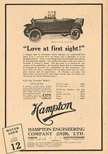 1923 Old Vintage Original HAMPTON Engineering 2-Seat Automobile CAR Art Print AD