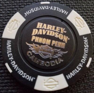 White//Black//Orange Harley Poker Chip~Golf Marker HD PHNOM PENH~CAMBODIA