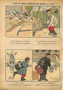 """Caricature Vie de Soldats Poilus Facteurs Fossoyeurs Cheminots 1910 ILLUSTRATION - France - Commentaires du vendeur : """"OCCASION"""" - France"""