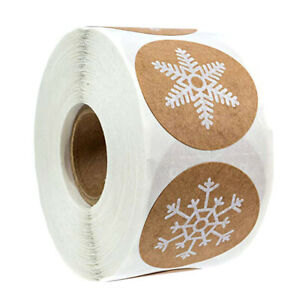 500Pcs-roll-Round-Christmas-theme-Stickers-6styles-Snowflake-Holiday-labelsW-KT