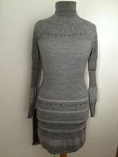 Karen Millen Grey Studded Wool Knit Dress UK 8 KM 1