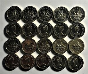 WHOLESALE-20-TWENTY-JERSEY-POUND-COINS-UNC-of-1994-SHIP-RESOLUTE-KM-91