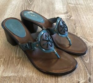 Cole-Haan-Size-8-B-Teal-Women-039-s-Leather-Thong-Strap-Block-Heel-Sandals-Shoes