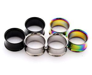 3-pairs-Steel-Double-Flare-Tunnels-Black-Steel-Rainbow-plugs-gauges-00g-1-034