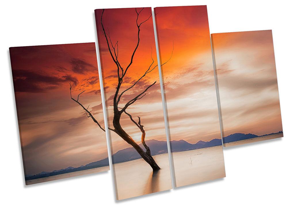 Tree Orange Sunset Lake Nature Framed CANVAS Drucken Four Panel Wand Kunst